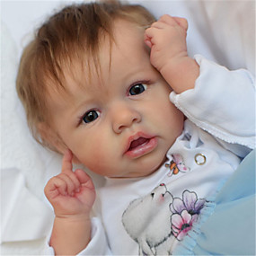 hesapli Oyuncaklar & Hobi Gereçleri-22 inç Yeniden Doğmuş Bebekler Bebek ve Yürüme Evresi Oyuncakları Yeniden doğmuş bebek bebek Saskia canlı El Yapımı Simülasyon El Uygulamalı Kirpikler Disket kafa Kumaş Silikon Vinil Giysi ve
