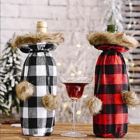 رخيصةأون المطبخ و السفرة-غطاء زجاجة نبيذ عيد الميلاد كيس 2 قطعة بدون زجاجات