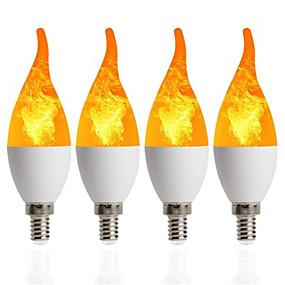ieftine Becuri LED Lumânare-4buc 1buc lumina cu lumânare e14 bec cu flacără 85-265v cu efect de flacără becuri cu foc pâlpâitoare emulare decor led lampă c35