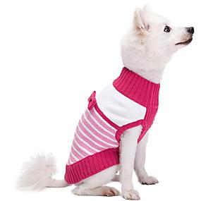 preiswerte Haustierzubehör-Hunde Katzen Pullover Streifen nette Art Lässig / Alltäglich Winter Hundekleidung Atmungsaktiv Rosa Kostüm Fleece Polyester 1 12 14 16 18 2