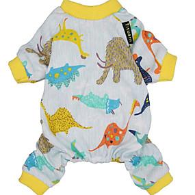 preiswerte Haustierzubehör-Hunde Katzen Overall Pyjamas Tier Dinosaurier Beiläufig / sportlich Süß Lässig / Alltäglich Hundekleidung Atmungsaktiv Gelb Kostüm Baumwolle XS S M L XL XXL
