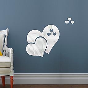 hesapli Dekorasyon Etiketleri-Çift aşk kalp şekli ayna kendinden yapışkanlı çıkartmalar kristal duvar kağıdı diy 3d ev duvar çıkartması decorationq501