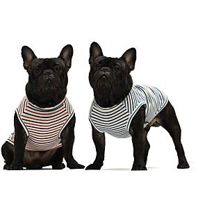 preiswerte Haustierzubehör-Hunde Katzen T-shirt Gestreift Beiläufig / sportlich nette Art Lässig / Alltäglich Hundekleidung Atmungsaktiv Rot / Grün Kostüm Baumwolle XS S M L XL XXL