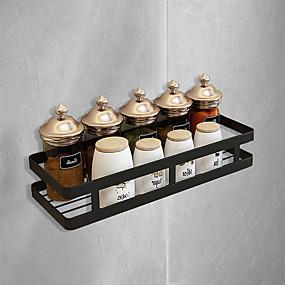 ieftine Stocare și Organizare-raft coș suspendat baie din oțel inoxidabil negru mat negru perforator spațiu liber condiment rack rack pentru depozitare bucătărie