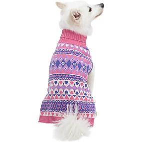 preiswerte Haustierzubehör-Hunde Katzen Pullover Streifen Windbreaker Lässig / Alltäglich Winter Hundekleidung Atmungsaktiv Rosa Kostüm Fleece Polyester 1 12 14 16 18 2
