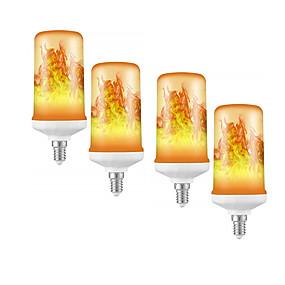 ieftine Becuri LED Corn-4buc 1buc efect de flacără dinamică led lampă cu bec de porumb 85-265v e27 e14 simulare foc ars pâlpâire cu senzor de gravitate lămpi de decor