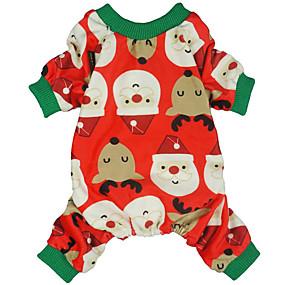 preiswerte Haustierzubehör-Hunde Katzen Kostüme Overall Pyjamas Beiläufig / sportlich nette Art Weihnachten Lässig / Alltäglich Hundekleidung Atmungsaktiv Rot Kostüm Baumwolle XS S M L XL XXL