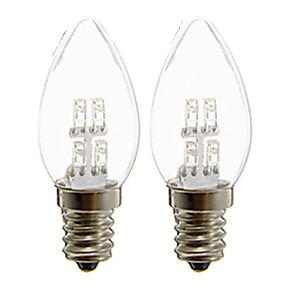 ieftine Becuri LED Lumânare-2buc 1 lumini cu lumânări cu led 20 lm e12 c35 4 margele cu led dip decorativ alb cald cald 110-240 v