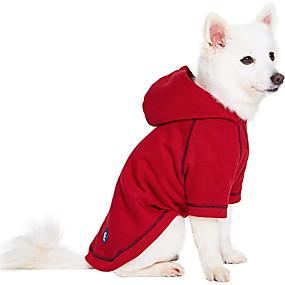 preiswerte Haustierzubehör-Hunde Katzen Kapuzenshirts Pullover Solide Beiläufig / sportlich Lässig / Alltäglich Hundekleidung Atmungsaktiv Rot Kostüm Baumwolle 1 12 14 16 18 2