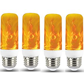 ieftine Becuri LED Corn-4buc 1buc nou led cu efect de flacără cu bec foc e27 cu bec de porumb cu emulație pâlpâitoare creativă 5w cu lampă cu led