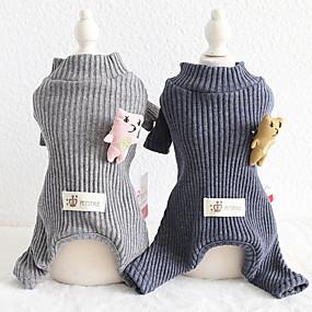 preiswerte Haustierzubehör-Hunde Katzen Overall Pyjamas Einfarbig Beiläufig / sportlich Lässig / Alltäglich Hundekleidung Atmungsaktiv Schwarz / Gray Grau Kostüm Baumwolle XS S M L XL XXL