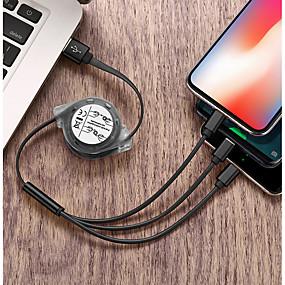 billige Apple-Mikro USB / Belysning / Type-C Kabel 2.4 A 1,0 m (3 ft) Alt-i-En / Flettet / 1 til 3 TPE USB-kabeladapter Til iPad / Samsung / Huawei
