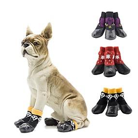 preiswerte Haustierzubehör-Hunde Schuhe und Stiefel Socken Rutschfest warm halten Totenkopf Motiv Für Haustiere Baumwolle Purpur