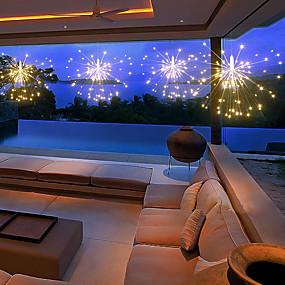 رخيصةأون LED الأضواء الشمسية-سلسلة أضواء الألعاب النارية الشمسية لتزيين الحديقة باقة led سلسلة عيد الميلاد أضواء خرافية احتفالية مصابيح شمسية خارجية