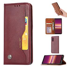 baratos Sony-estojo para sony sony xperia xz5 xperia5 porta-cartões de carteira com suporte estojos de corpo inteiro em couro pu de cor sólida xperia xa3 xperia10 xz4 xperia1 xz3 l2 xa2 utlra xz2 compact