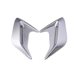 ieftine Abțibilde Auto-2pc universal auto eșapament port laterală aripă gard Fender 3d rechin gill simulare flux de aer admisie capotă decorare capac autocolant-argint