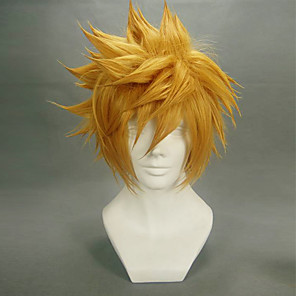 tanie Anime Cosplay-Kingdom Hearts Roxas Peruki Cosplay Męskie 14 in Fiber odporne na ciepło Blond Anime