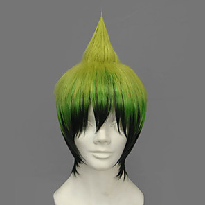 cheap Cosplay Wigs-Blue Exorcist Amaimon Cosplay Wigs Men's 12 inch Heat Resistant Fiber Green Anime