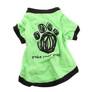 저렴한 로리타 패션-강아지 티셔츠 강아지 의류 통기성 그린 코스츔 면 문자와 숫자 캐쥬얼 / 데일리 XS S M L