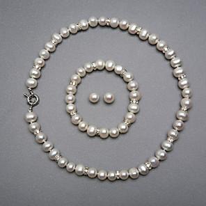 povoljno Zidni ukrasi-Bijela Biseri Komplet nakita dame Srebrna Naušnice Jewelry Za Vjenčanje Party godišnjica Rođendan Angažman Dar / Ogrlice