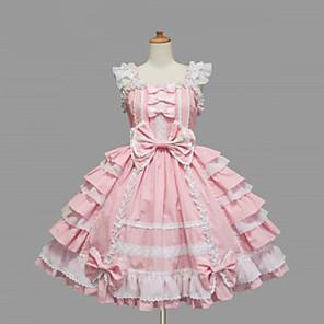 olcso Lolita divat-Hercegnő Női Sweet Lolita Ruhák Fekete Rózsaszín Közepes hossz Pamut Ruha Lolita kiegészítők