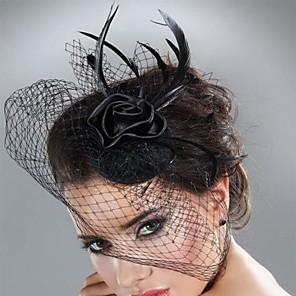levne Ozdoby do vlasů-Tyl / Peří Fascinátory s Peří / kožešiny 1ks Svatební / Zvláštní příležitosti / Dostih Přílba