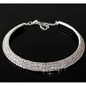 ieftine Colier la Modă-Diamant sintetic Coliere Layered Declarație femei Casual Pietrele Lunilor Diamant Aliaj Culoare ecran Argintiu Coliere Bijuterii Pentru