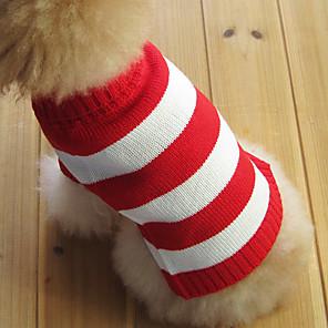 Kat Hund Gensere Stribe Mote Jul Vinter Hundeklær Rød Kostume Bomull XS S M