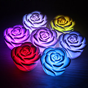 cheap LED Novelty Lights-1pc Rose Flower LED Light Night Changing 7 Colors Romantic Candle Light Lamp