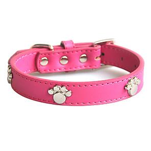 ieftine Câini Gulere, hamuri și Curelușe-Câine Gulere Ajustabile / Retractabil Απαλό Amprentă picior Piele autentică Rosu Albastru Roz