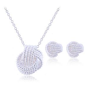 ieftine Accesorii PS4-Pentru femei Seturi de bijuterii Cercei Stud Coliere cu Pandativ plaited femei Elegant de Mireasă Plastic Argintiu cercei Bijuterii Argintiu Pentru Nuntă Petrecere Zi de Naștere Logodnă Cadou