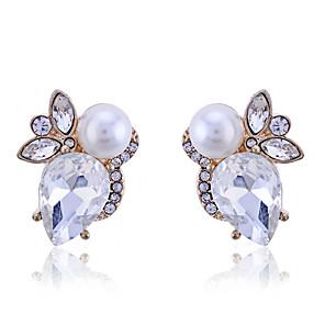 ieftine Cercei-Pentru femei Cristal Cercei Stud Perle Cristal Placat Auriu cercei Bijuterii Alb Pentru Petrecere Zilnic Casual