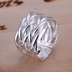 olcso Gyűrűk-Női Band Ring Ezüst Ezüstözött Ötvözet hölgyek Egyedi Nyitva Esküvő Parti Ékszerek Redőzött Sodrott Állítható