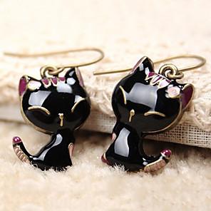ieftine Cercei-Pentru femei Cercei Picătură Clasic Pisici Animal Ieftin Șic & Modern Cute Stil Reșină cercei Bijuterii Negru Pentru Zilnic Interior 1 Pair