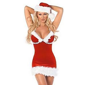 ieftine Părți Motociclete & ATV-Costume Cosplay Santa Clothe Pentru femei Crăciun Halloween Festival / Sărbătoare Blană Artificială Poliester Rosu Costume de Carnaval / Pălărie