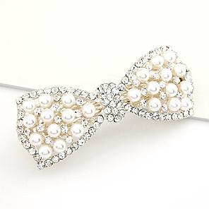 ieftine Bijuterii de Păr-Pentru femei Barete Pentru Petrecere Zilnic Nod Funda Flori Perle Material Textil Alb