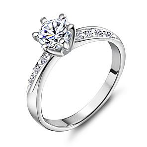 ieftine Inele-Pentru femei Band Ring Argintiu Articole de ceramică Placat cu platină 18K Aur Nuntă Petrecere Bijuterii simulat / Ștras / Aliaj