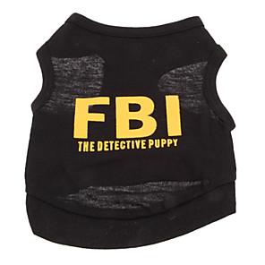 Недорогие Одежда и аксессуары для собак-Собака Футболка Одежда для собак Дышащий Черный Черный / Желтый Желтый Костюм Хлопок Полиция / армия Буквы и цифры Праздник Мода XS S M L