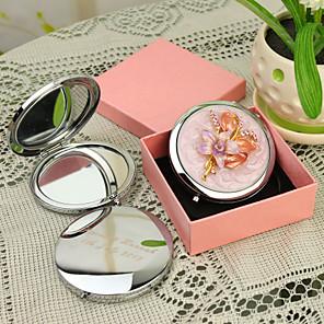 ieftine Gadget-uri De Glume-Personalizate cadouri Floral Stil Pink Chrome Compact Mirror