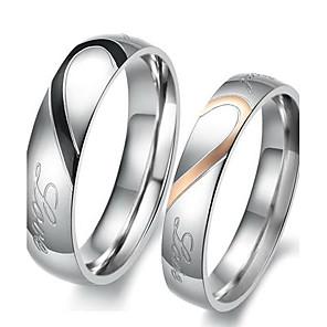 ieftine Inele Cuplu-Bărbați și femei Inele Cuplu Inel de logodna 2pcs Argintiu Te iubesc Oțel titan femei Simplu de Mireasă Nuntă Petrecere Bijuterii Două-Tonuri Inimă Iubire Prietenie