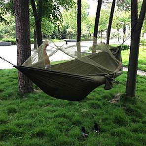 ieftine Lenjerie Pat Tabără-Hamac Camping cu Plasă de Țânțari Hamac dublu În aer liber Portabil Respirabil Uscare rapidă Anti Țânțar Ultra Ușor (UL) Parachute Nylon cu carabine și curele de copac pentru 2 persoane Vânătoare