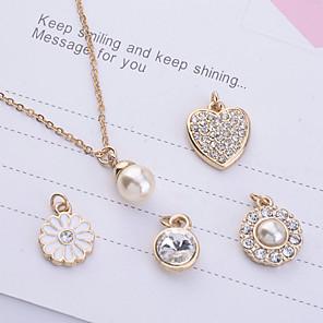 ieftine Coliere-Pentru femei Perle Coliere cu Pandativ femei Imitație de Perle Ștras Placat Auriu Auriu Coliere Bijuterii 5pcs Pentru Petrecere Zilnic Casual