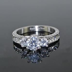 ieftine Colier la Modă-Pentru femei Inel Diamant sintetic moissanite Argintiu Teak Zirconiu Zirconiu Cubic Rotund femei Lux de Mireasă Nuntă Petrecere Bijuterii Solitaire grup HALO Coroane Iubire