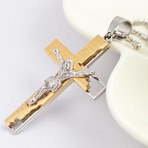 ieftine Coliere-Bărbați Coliere cu Pandativ Σταυρός femei Modă Hristos Oțel titan Placat Auriu Negru Argintiu Auriu Coliere Bijuterii Pentru Zilnic Casual