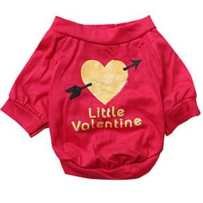 ieftine Imbracaminte & Accesorii Căței-Câine Tricou Îmbrăcăminte Câini Respirabil Trandafiriu Costume Bumbac Inimă XS S M L