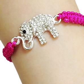 ieftine Ustensile de Gătit-Pentru femei Brățări cu Talismane Elefant Alphabet Shape Animal Design Unic Modă Ștras Bijuterii brățară Fucsia / Portocaliu / Verde Pentru Zi de Naștere Cadou Casual