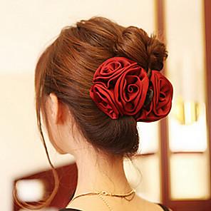 ieftine Bijuterii de Păr-Pentru femei Clești Pentru Petrecere Zilnic Casual Flori Teracotă Material Textil Roșu Închis Roz Negru