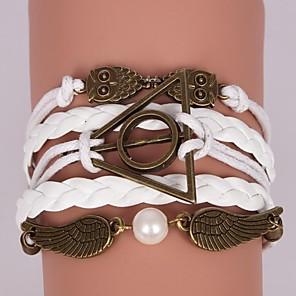 ieftine Brățări-Pentru femei Bratari Wrap Bratari din piele Bufniţă Ieftin Inspirațional Piele  Bijuterii brățară Maro / Alb Pentru Cadouri de Crăciun Petrecere Zilnic Casual