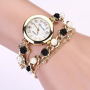 ieftine Inele-Pentru femei Ceas Brățară ceasul cu ceas Quartz Metal Negru imitație de diamant Analog Perlă Modă Elegant - Negru Un an Durată de Viaţă Baterie / Tianqiu 377
