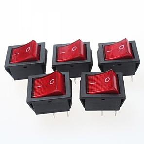 ieftine Întrerupătoare-4-pin rocker switch-uri cu roșu 250VAC indicator luminos 15a (5 piese Pack)
